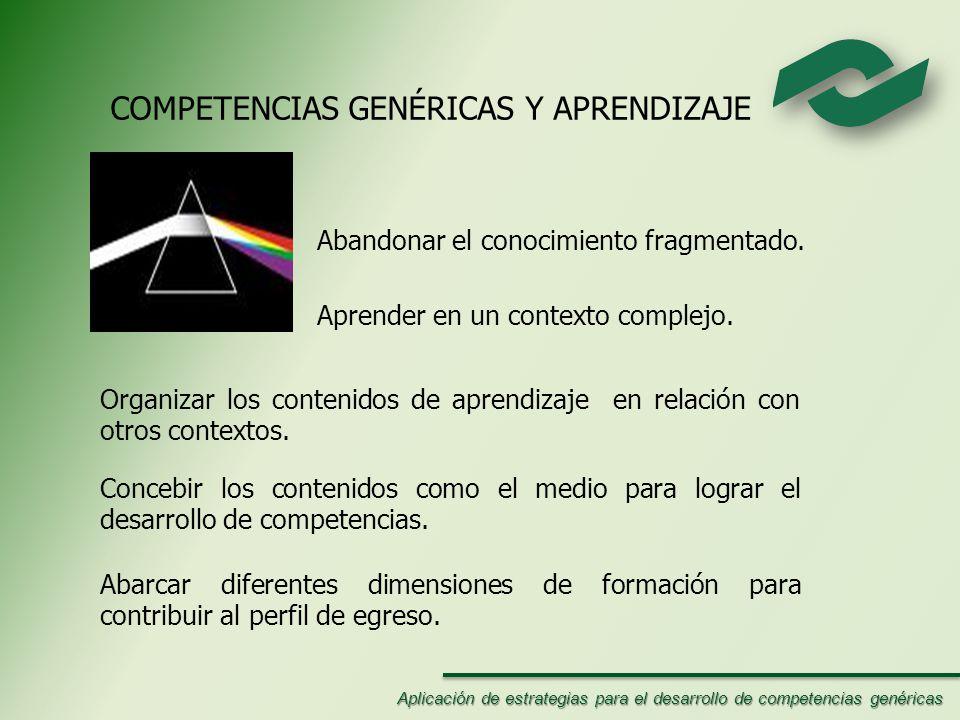 COMPETENCIAS GENÉRICAS Y APRENDIZAJE