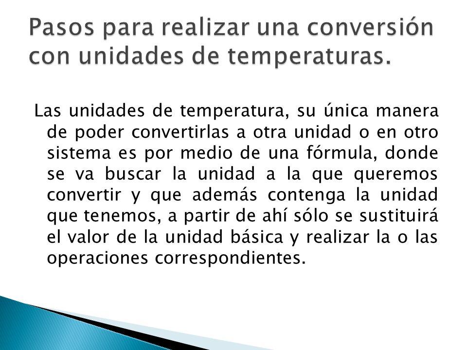 Pasos para realizar una conversión con unidades de temperaturas.