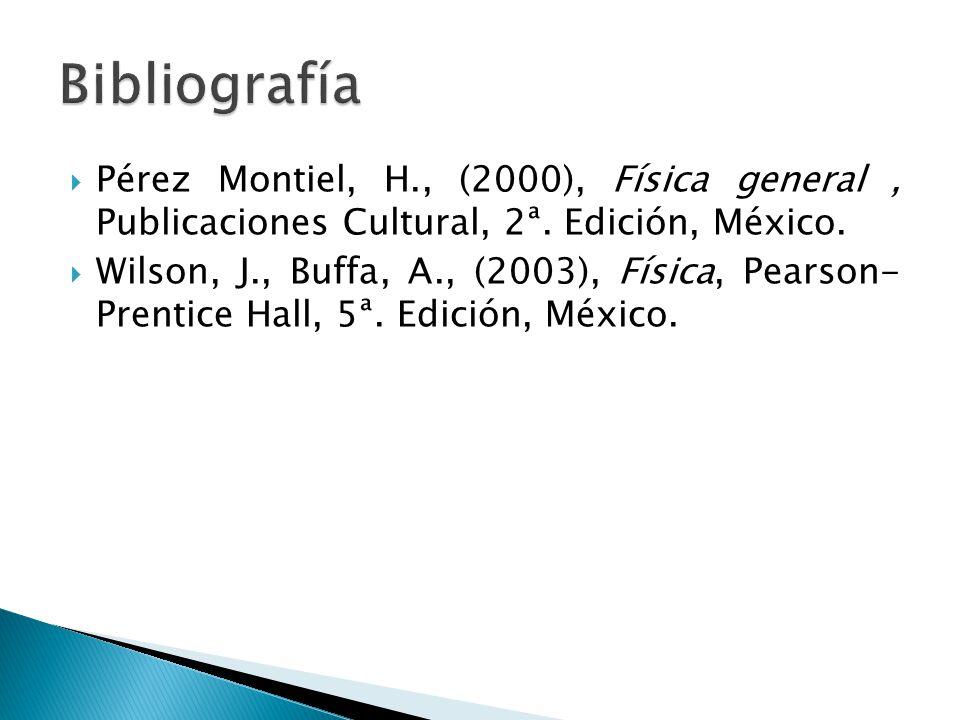 Bibliografía Pérez Montiel, H., (2000), Física general , Publicaciones Cultural, 2ª. Edición, México.