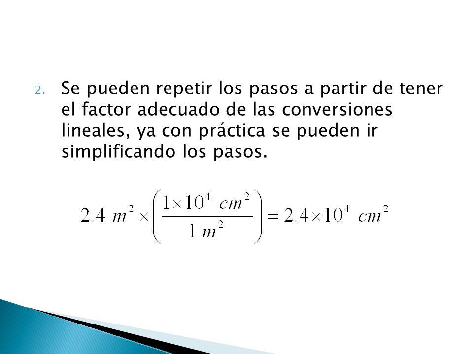 Se pueden repetir los pasos a partir de tener el factor adecuado de las conversiones lineales, ya con práctica se pueden ir simplificando los pasos.