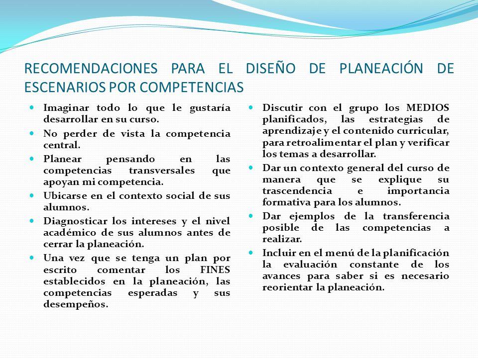 RECOMENDACIONES PARA EL DISEÑO DE PLANEACIÓN DE ESCENARIOS POR COMPETENCIAS