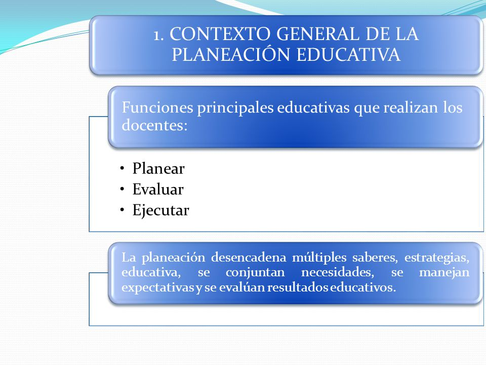 1. CONTEXTO GENERAL DE LA PLANEACIÓN EDUCATIVA