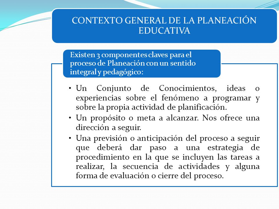 CONTEXTO GENERAL DE LA PLANEACIÓN EDUCATIVA