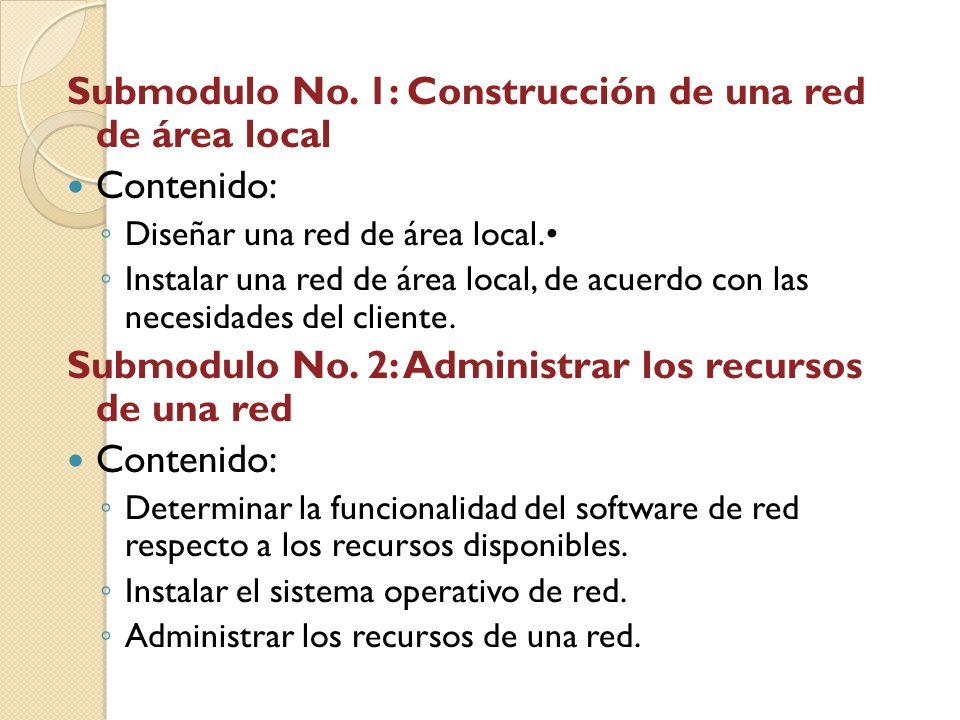 Submodulo No. 1: Construcción de una red de área local Contenido: