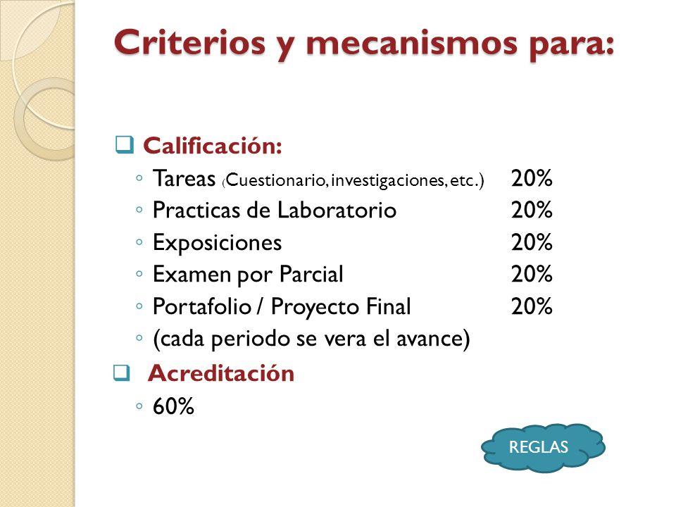 Criterios y mecanismos para:
