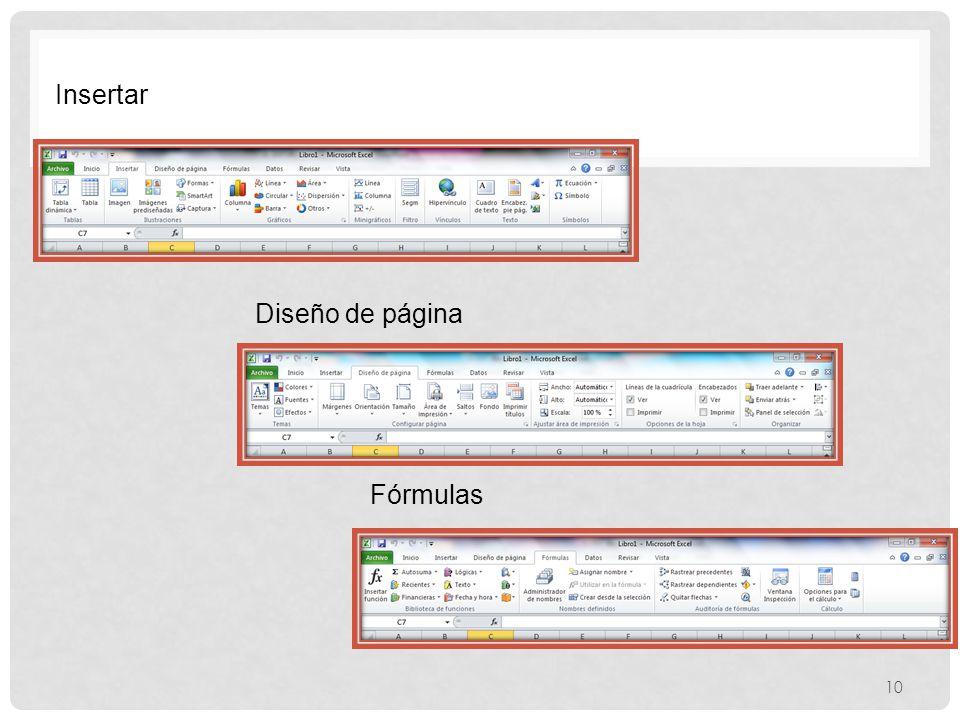 Insertar Diseño de página Fórmulas