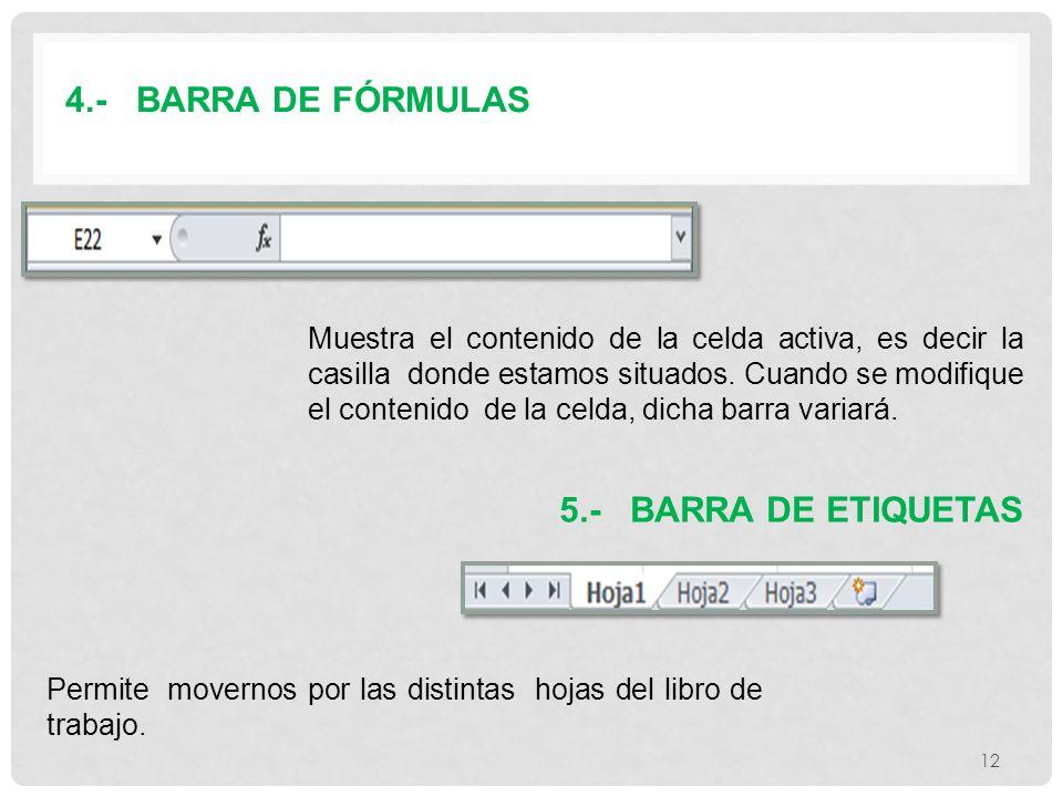 4.- BARRA DE FÓRMULAS 5.- BARRA DE ETIQUETAS