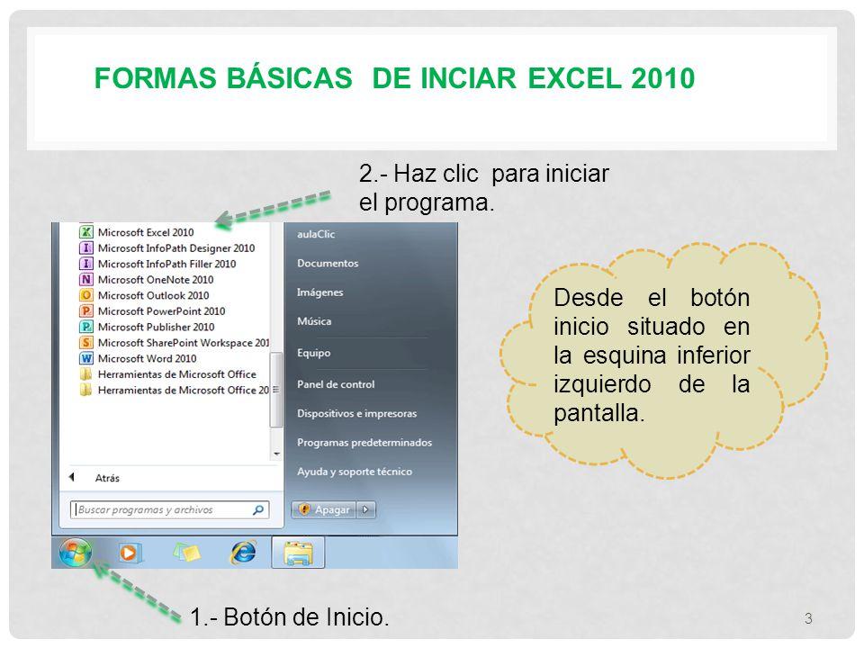 FORMAS BÁSICAS DE INCIAR EXCEL 2010