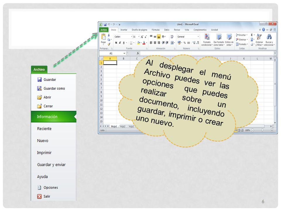 Al desplegar el menú Archivo puedes ver las opciones que puedes realizar sobre un documento, incluyendo guardar, imprimir o crear uno nuevo.