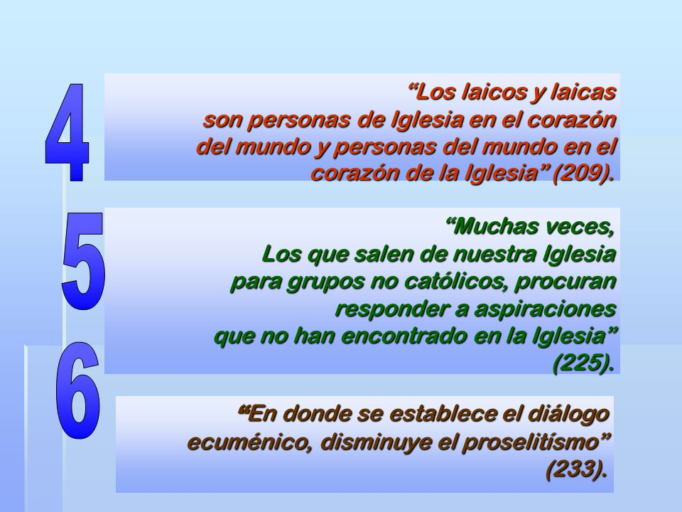 Los laicos y laicas son personas de Iglesia en el corazón del mundo y personas del mundo en el corazón de la Iglesia (209).