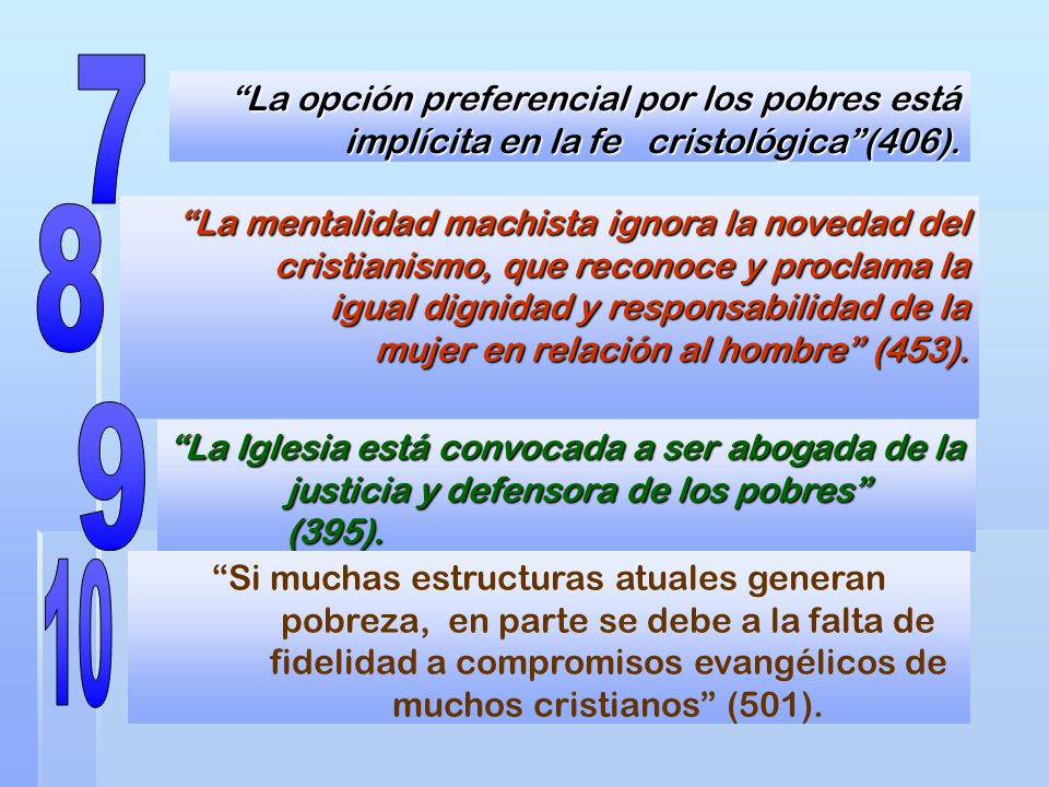 7 La opción preferencial por los pobres está implícita en la fe cristológica (406).