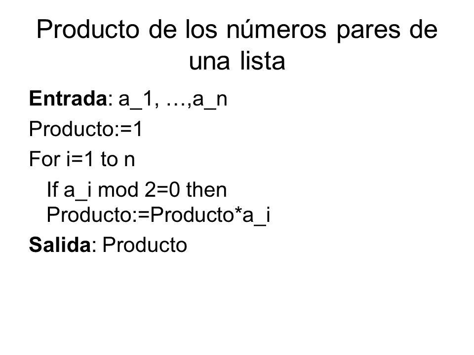 Producto de los números pares de una lista