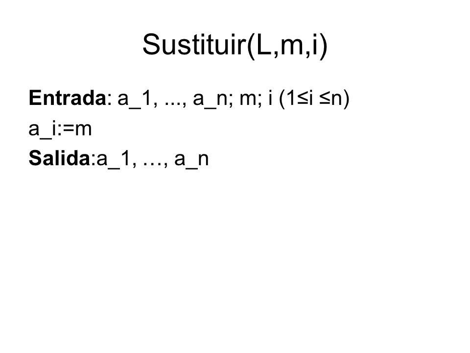 Sustituir(L,m,i) Entrada: a_1, ..., a_n; m; i (1≤i ≤n) a_i:=m