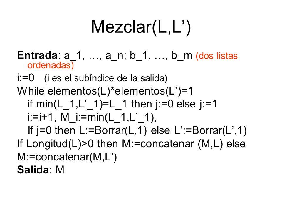 Mezclar(L,L') Entrada: a_1, …, a_n; b_1, …, b_m (dos listas ordenadas)