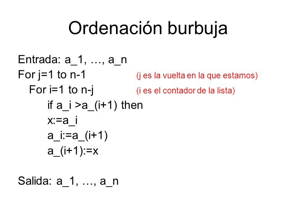 Ordenación burbuja Entrada: a_1, …, a_n