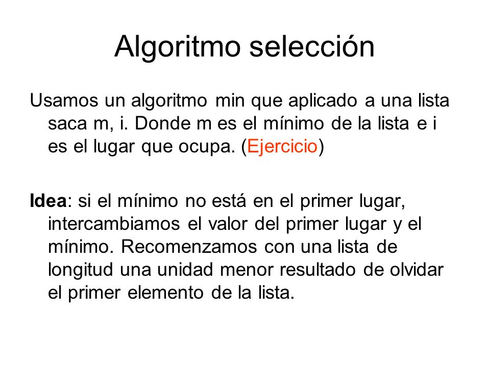 Algoritmo selección