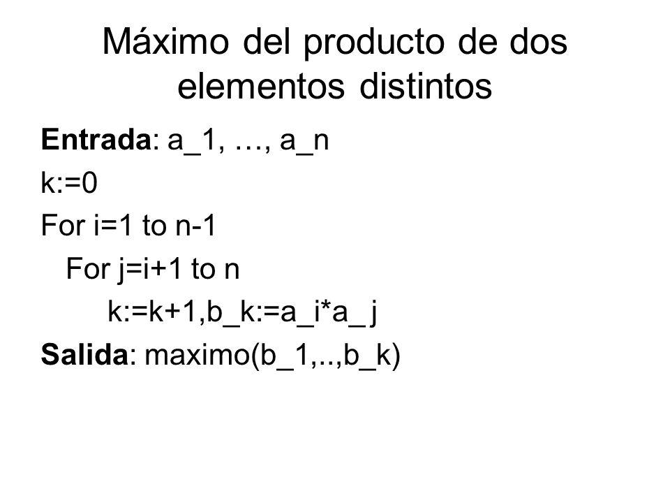Máximo del producto de dos elementos distintos