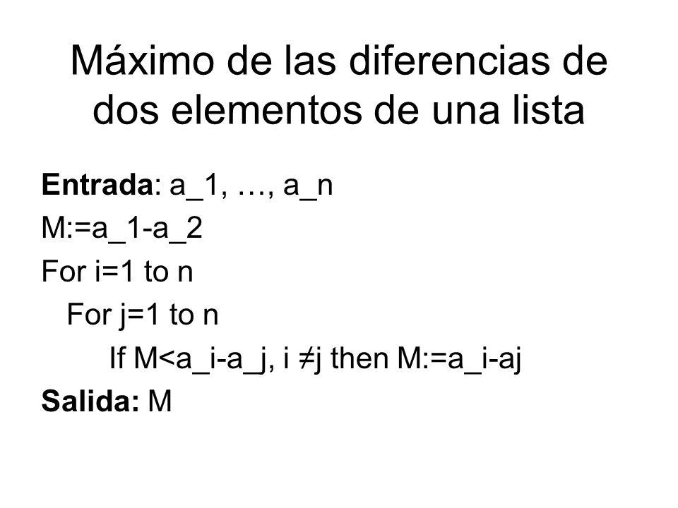 Máximo de las diferencias de dos elementos de una lista