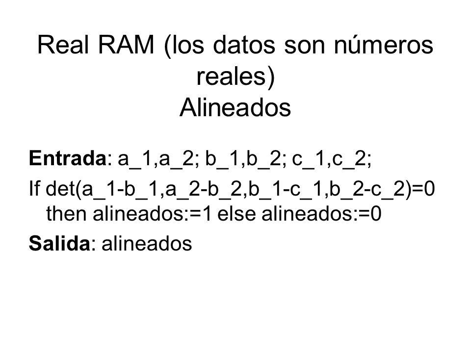 Real RAM (los datos son números reales) Alineados
