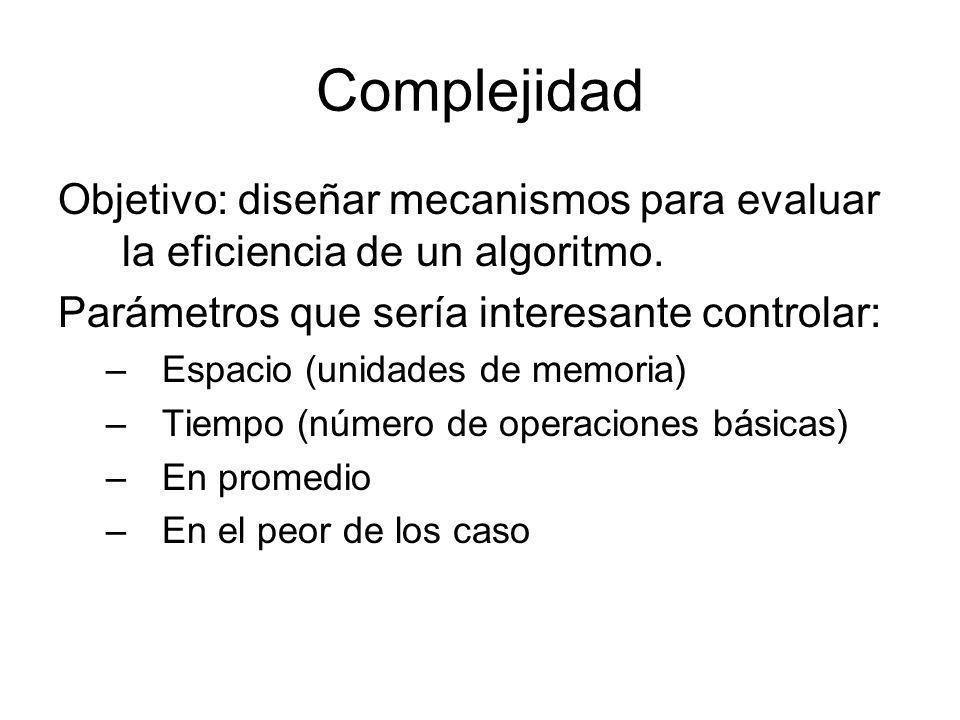 Complejidad Objetivo: diseñar mecanismos para evaluar la eficiencia de un algoritmo. Parámetros que sería interesante controlar: