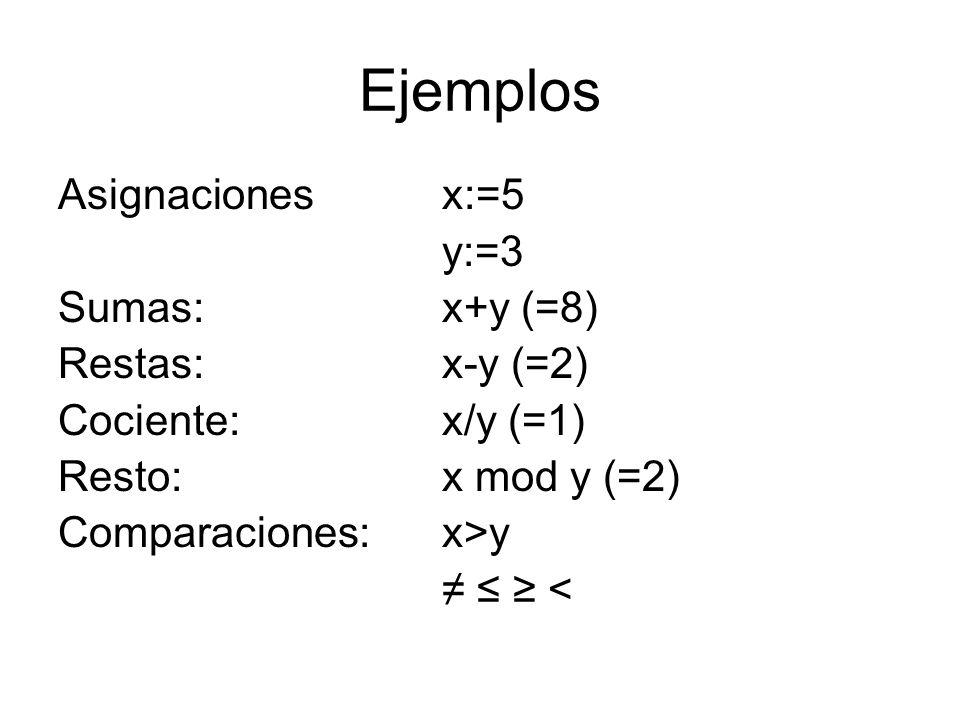 Ejemplos Asignaciones x:=5 y:=3 Sumas: x+y (=8) Restas: x-y (=2)