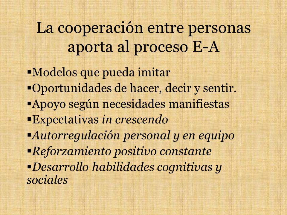 La cooperación entre personas aporta al proceso E-A