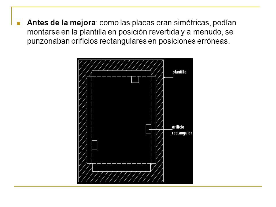 Antes de la mejora: como las placas eran simétricas, podían montarse en la plantilla en posición revertida y a menudo, se punzonaban orificios rectangulares en posiciones erróneas.