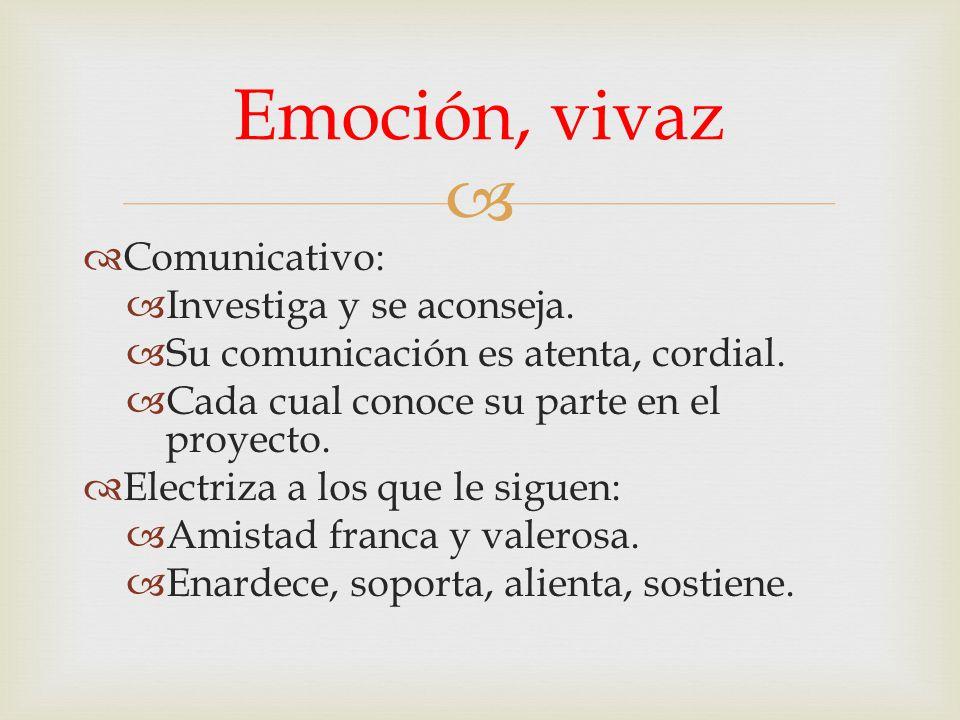 Emoción, vivaz Comunicativo: Investiga y se aconseja.