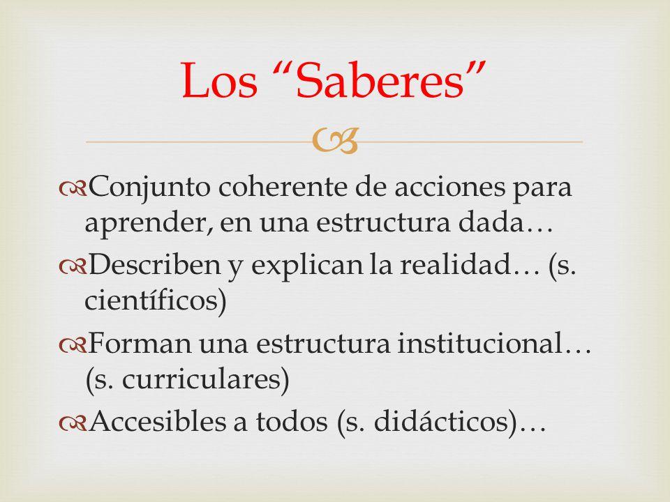 Los Saberes Conjunto coherente de acciones para aprender, en una estructura dada… Describen y explican la realidad… (s. científicos)