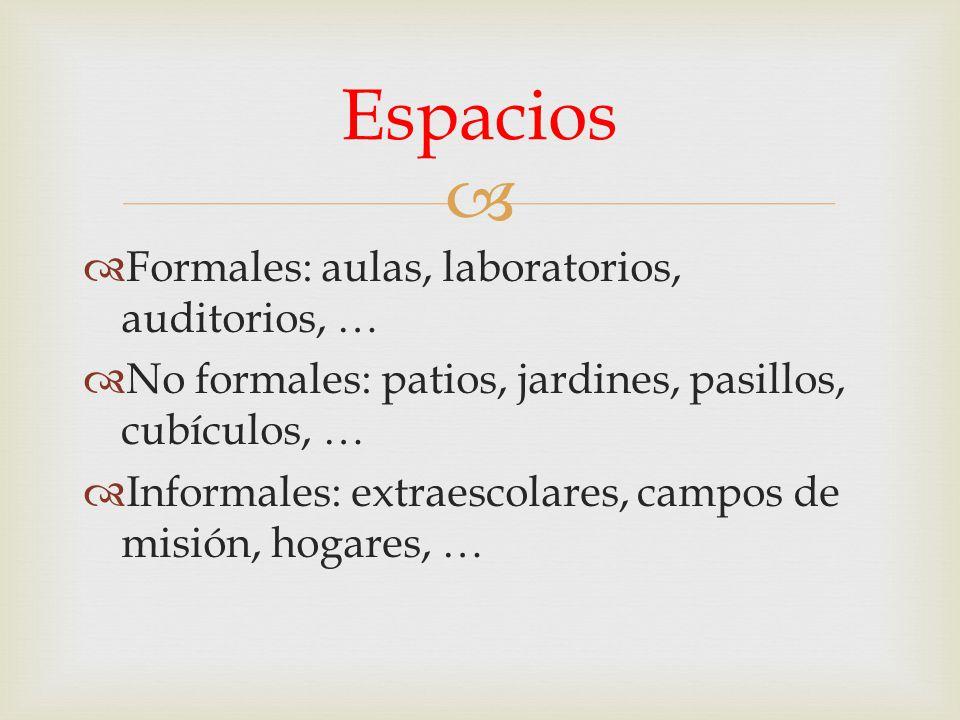 Espacios Formales: aulas, laboratorios, auditorios, …