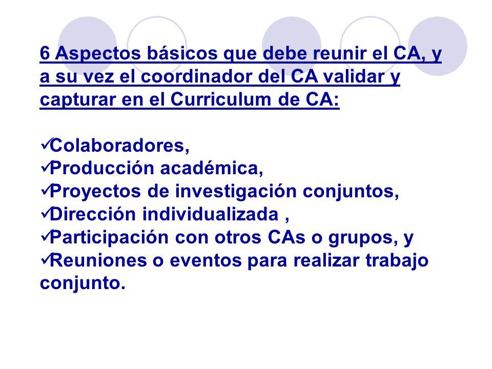 6 Aspectos básicos que debe reunir el CA, y a su vez el coordinador del CA validar y capturar en el Curriculum de CA: