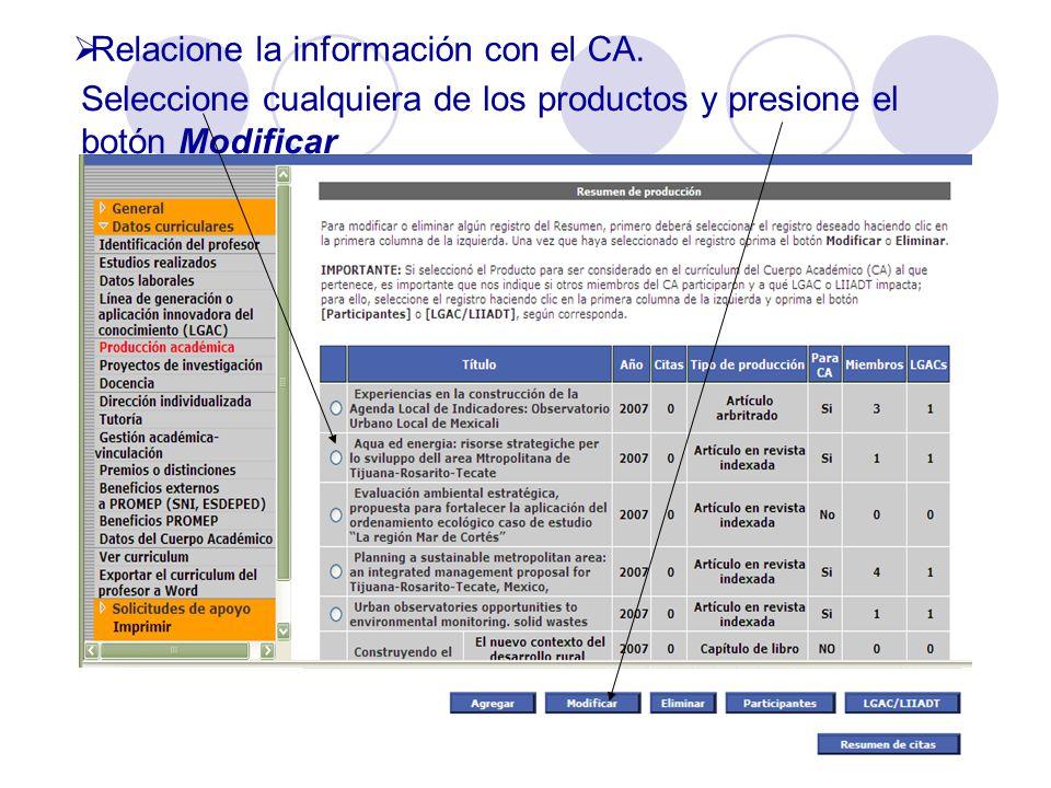 Relacione la información con el CA.