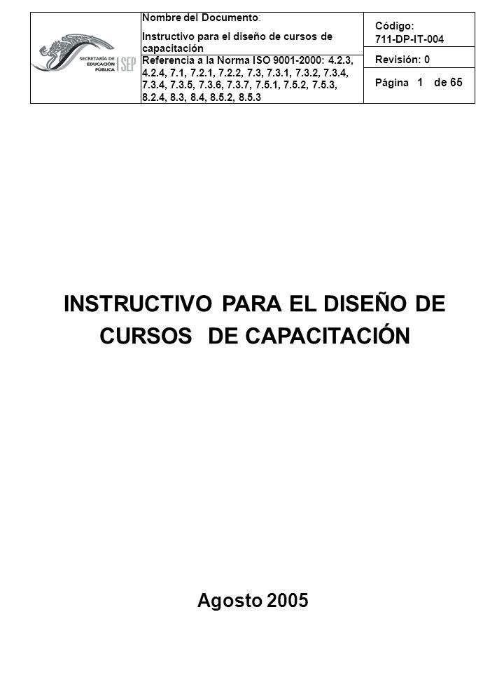 INSTRUCTIVO PARA EL DISEÑO DE CURSOS DE CAPACITACIÓN