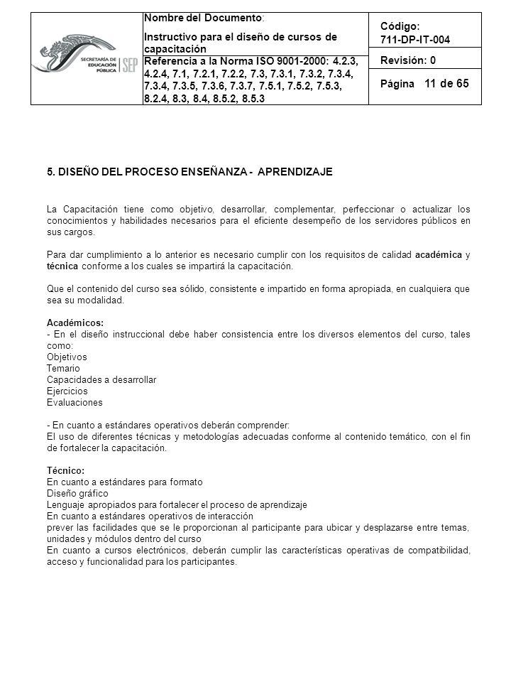 11 5. DISEÑO DEL PROCESO ENSEÑANZA - APRENDIZAJE