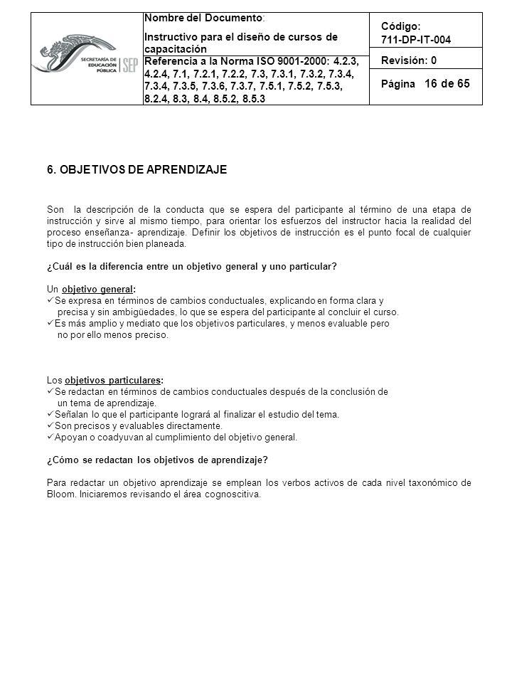 6. OBJETIVOS DE APRENDIZAJE