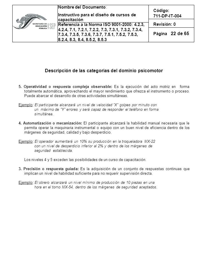 Descripción de las categorías del dominio psicomotor