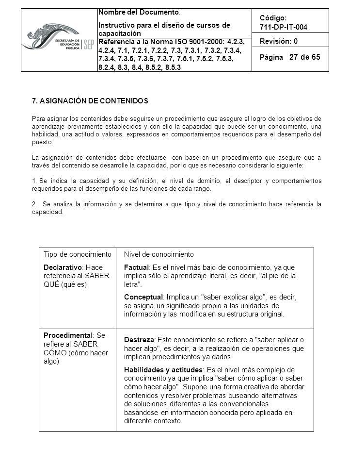 27 7. ASIGNACIÓN DE CONTENIDOS Tipo de conocimiento