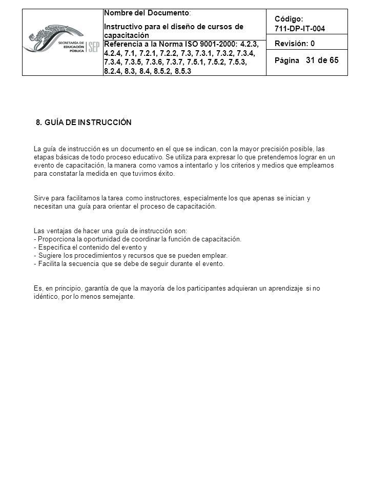31 8. GUÍA DE INSTRUCCIÓN.