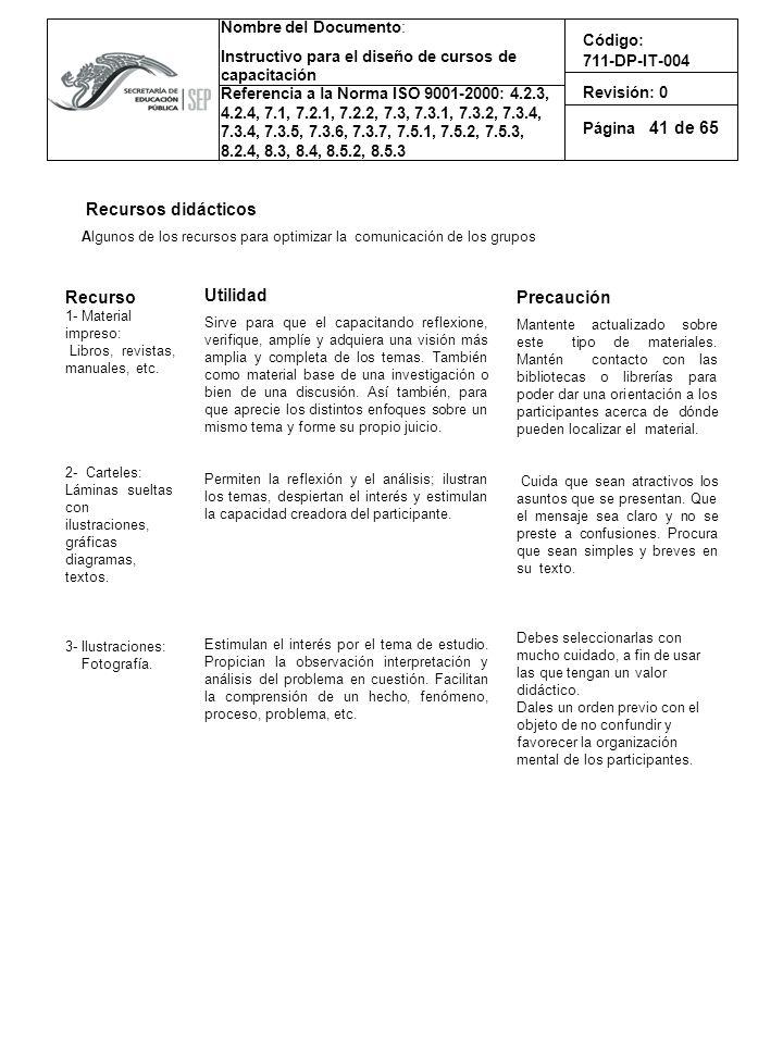 41 Recursos didácticos Recurso Utilidad Precaución