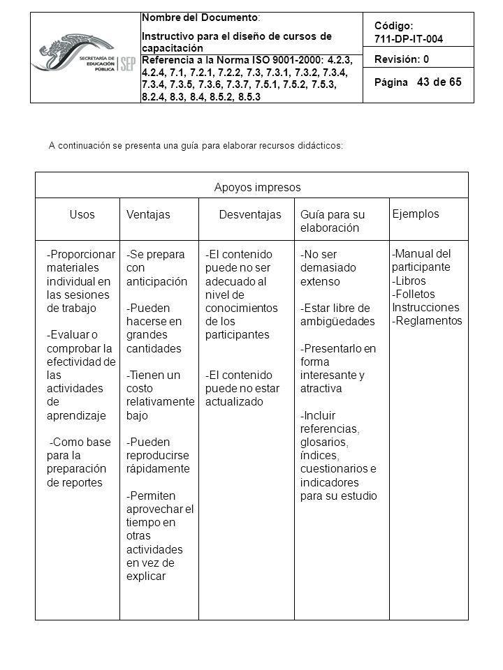 43 A continuación se presenta una guía para elaborar recursos didácticos: Apoyos impresos. Usos.