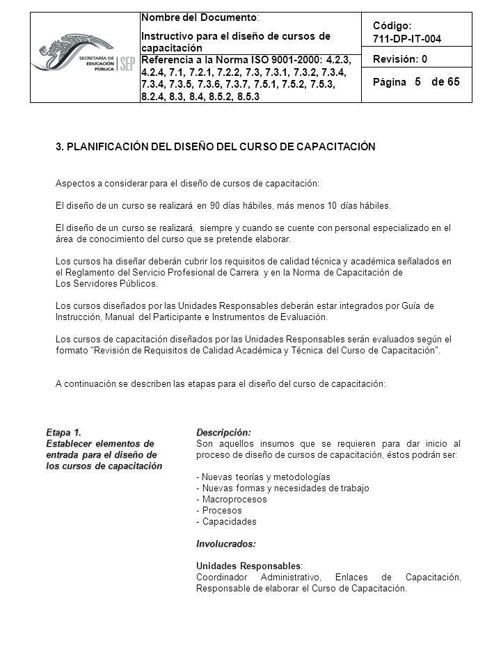 5 3. PLANIFICACIÓN DEL DISEÑO DEL CURSO DE CAPACITACIÓN