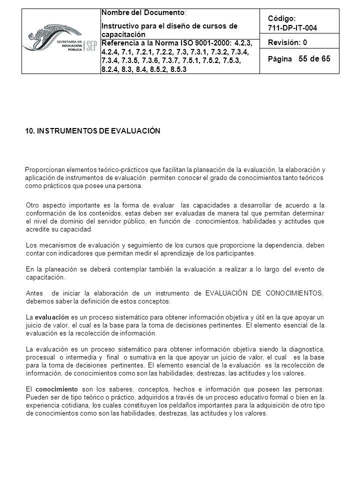 55 10. INSTRUMENTOS DE EVALUACIÓN