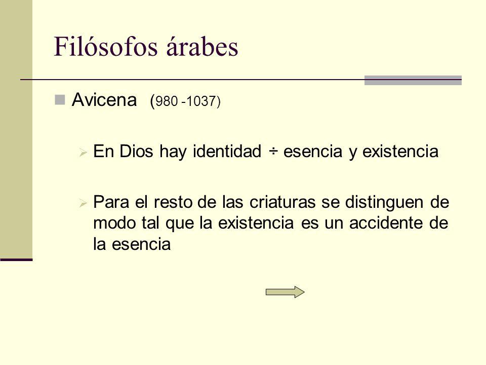 Filósofos árabes Avicena (980 -1037)