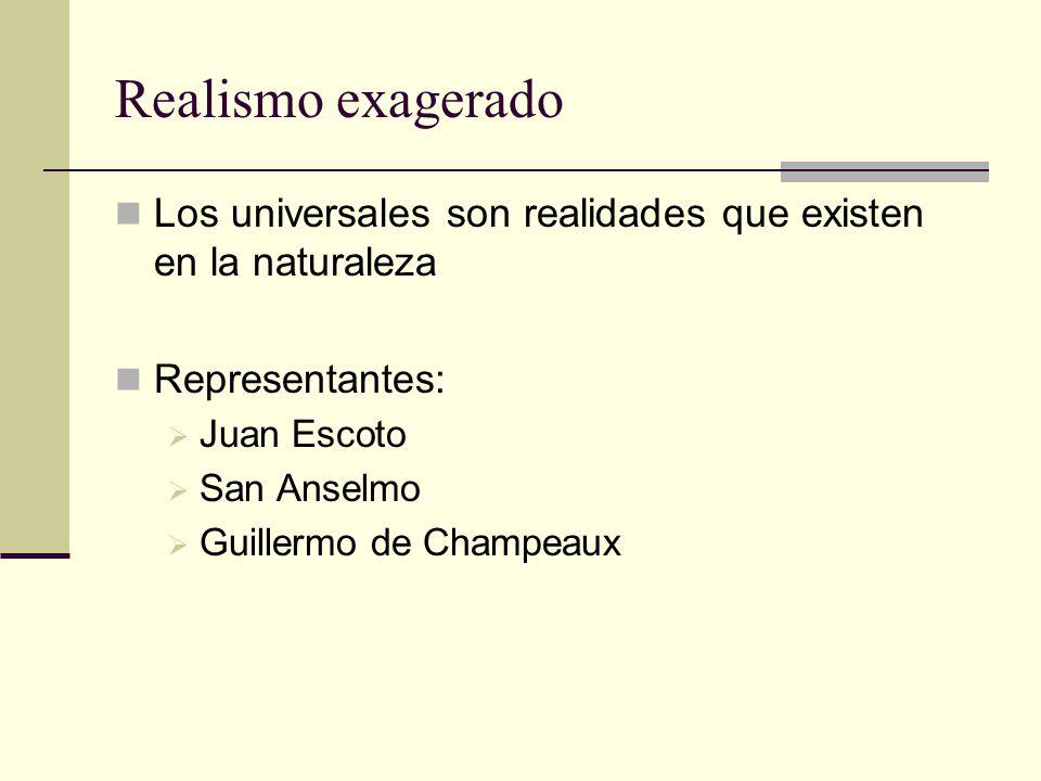 Realismo exagerado Los universales son realidades que existen en la naturaleza. Representantes: Juan Escoto.