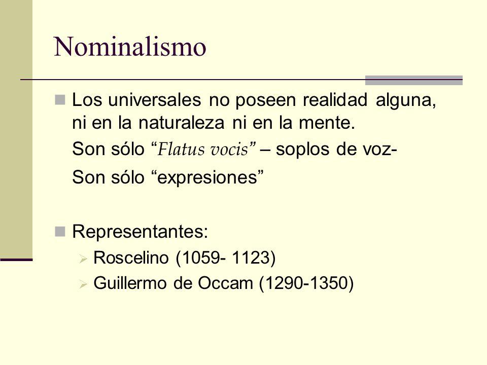 Nominalismo Los universales no poseen realidad alguna, ni en la naturaleza ni en la mente. Son sólo Flatus vocis – soplos de voz-