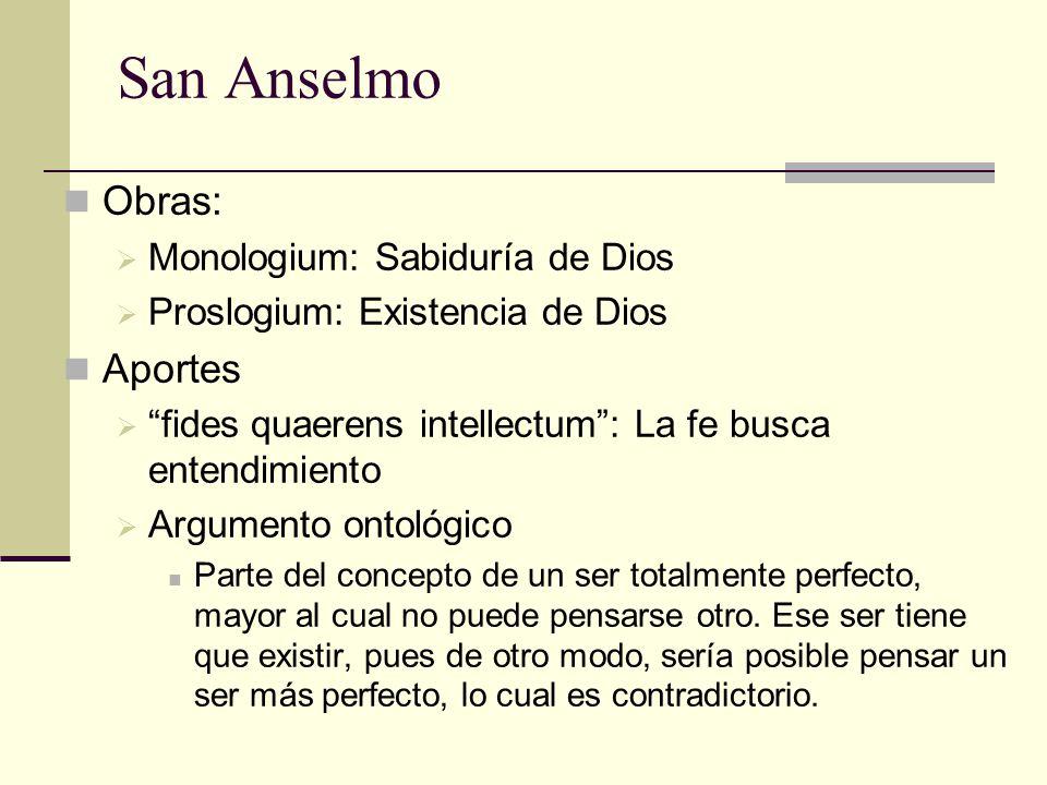 San Anselmo Obras: Aportes Monologium: Sabiduría de Dios