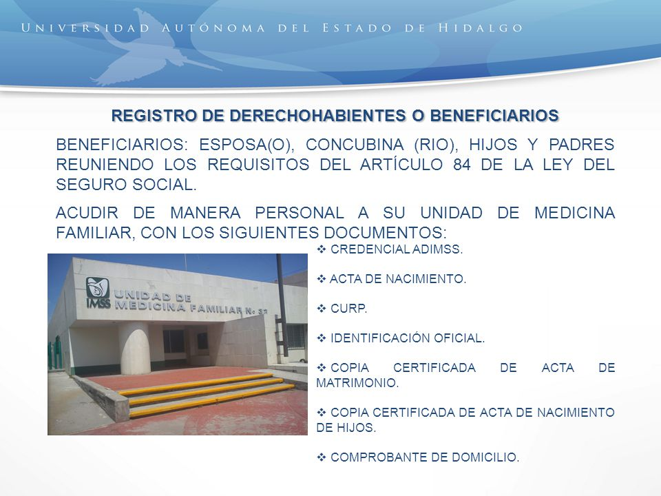 REGISTRO DE DERECHOHABIENTES O BENEFICIARIOS