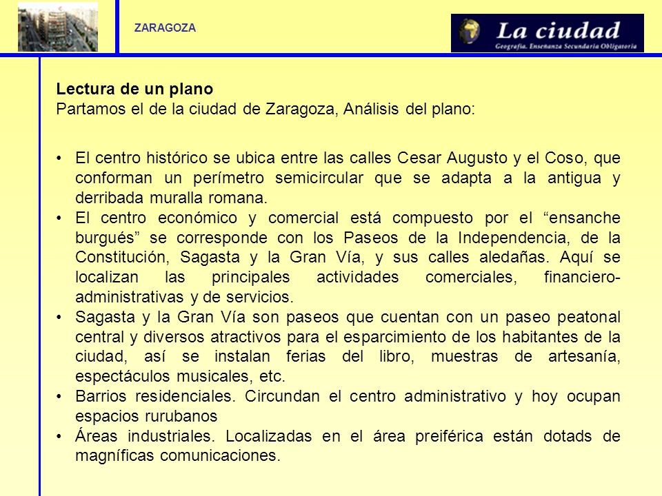 Partamos el de la ciudad de Zaragoza, Análisis del plano: