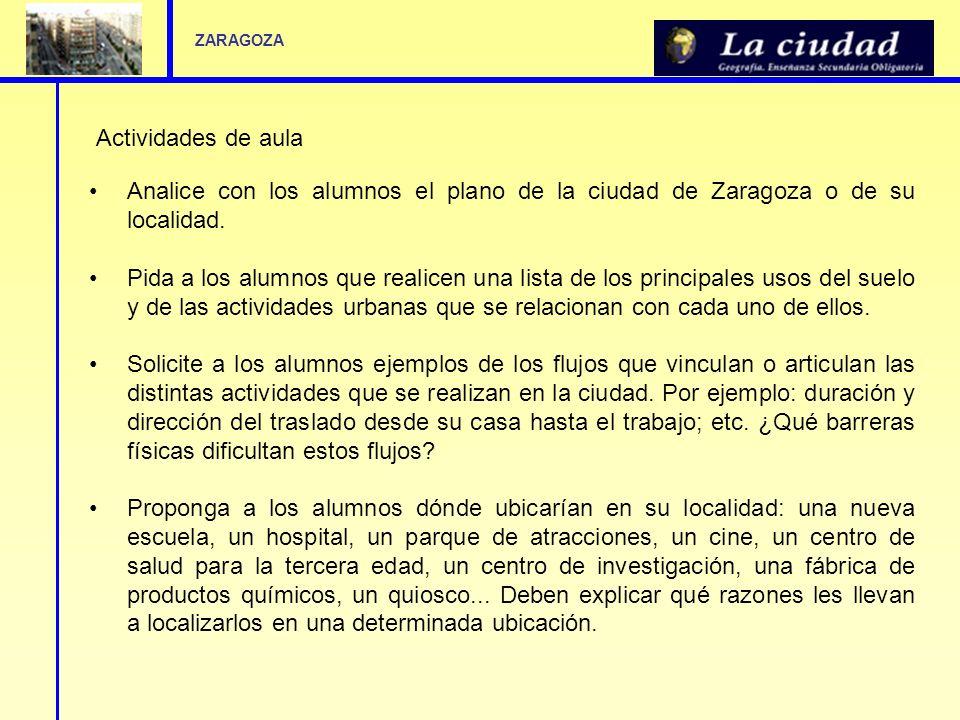 ZARAGOZA Actividades de aula. Analice con los alumnos el plano de la ciudad de Zaragoza o de su localidad.