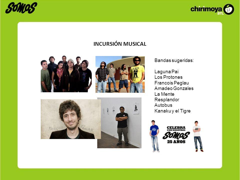 INCURSIÓN MUSICAL Bandas sugeridas: Laguna Pai Los Protones